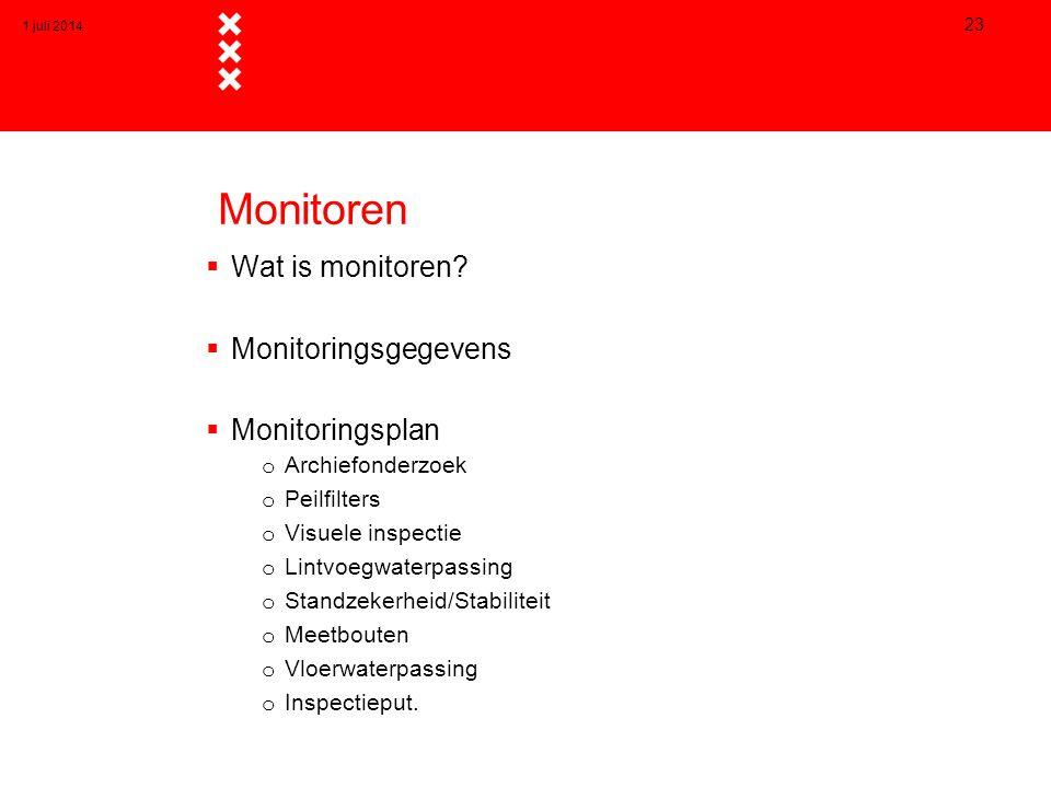 Monitoren  Wat is monitoren?  Monitoringsgegevens  Monitoringsplan o Archiefonderzoek o Peilfilters o Visuele inspectie o Lintvoegwaterpassing o St