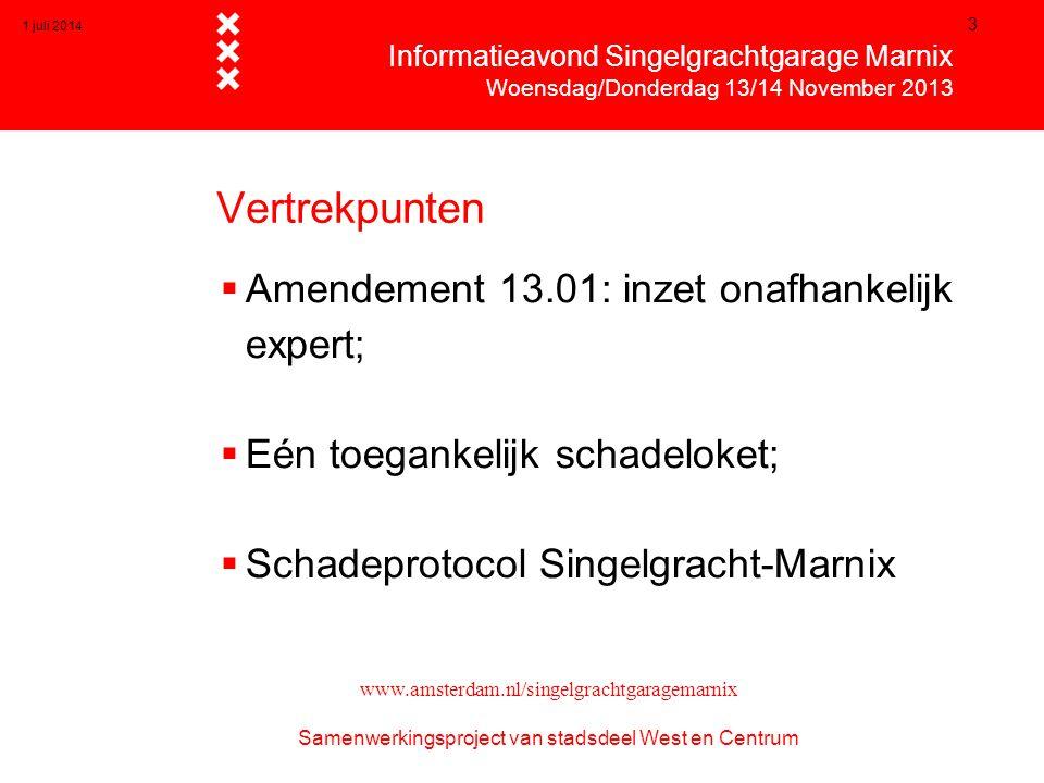 1 juli 2014 3 Vertrekpunten  Amendement 13.01: inzet onafhankelijk expert;  Eén toegankelijk schadeloket;  Schadeprotocol Singelgracht-Marnix  Inf