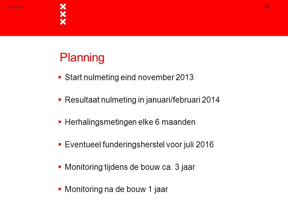 Planning  Start nulmeting eind november 2013  Resultaat nulmeting in januari/februari 2014  Herhalingsmetingen elke 6 maanden  Eventueel fundering