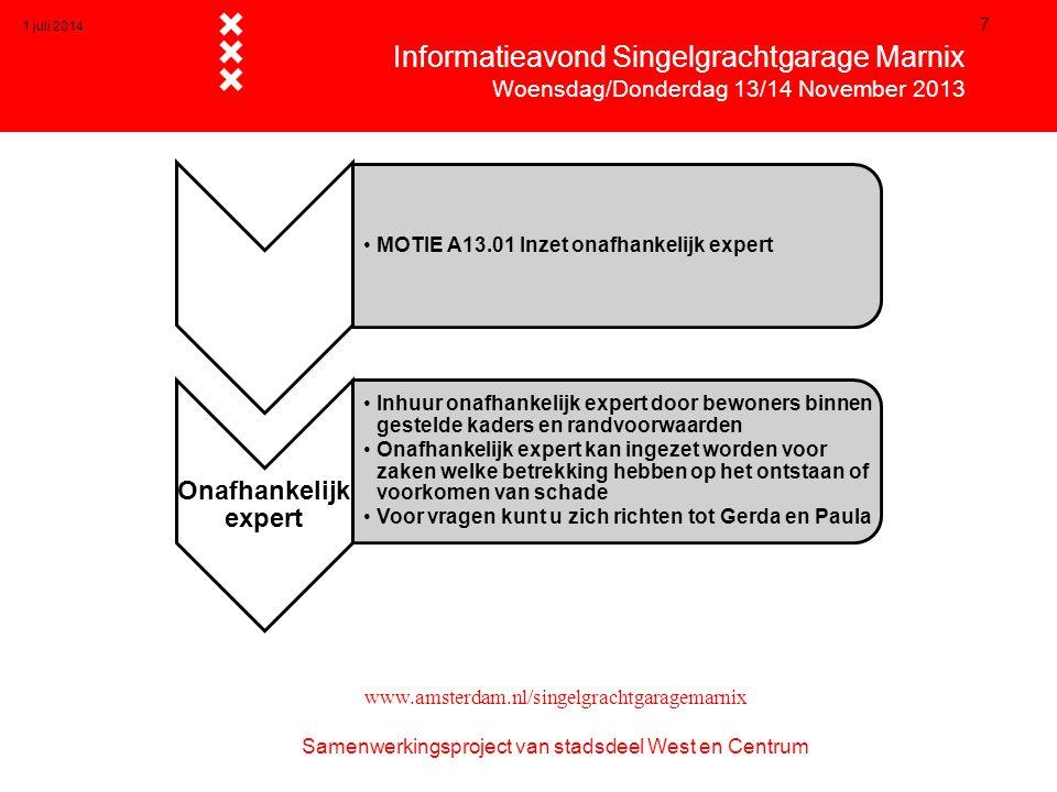 1 juli 2014 7  Informatieavond Singelgrachtgarage Marnix  Woensdag/Donderdag 13/14 November 2013 www.amsterdam.nl/singelgrachtgaragemarnix Samenwerk
