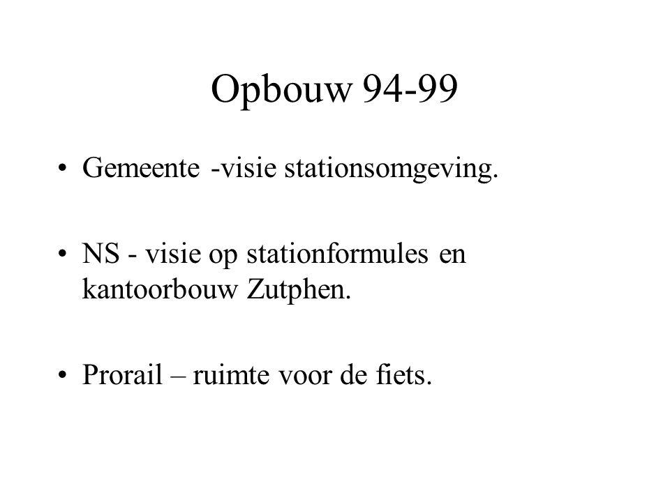 Opbouw 94-99 •Gemeente -visie stationsomgeving. •NS - visie op stationformules en kantoorbouw Zutphen. •Prorail – ruimte voor de fiets.