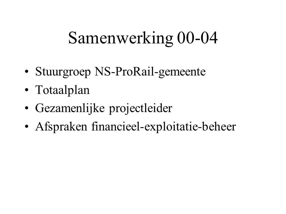Samenwerking 00-04 •Stuurgroep NS-ProRail-gemeente •Totaalplan •Gezamenlijke projectleider •Afspraken financieel-exploitatie-beheer