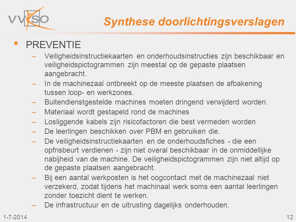 1-7-201412 Synthese doorlichtingsverslagen • PREVENTIE –Veiligheidsinstructiekaarten en onderhoudsinstructies zijn beschikbaar en veiligheidspictogram