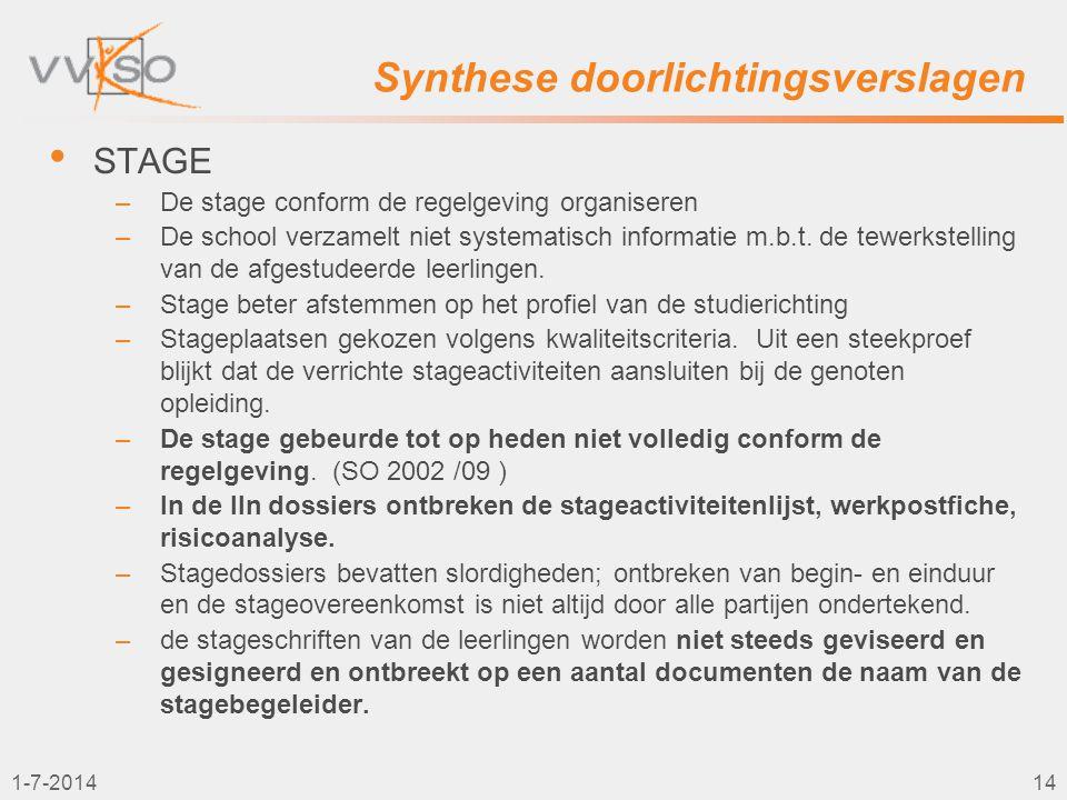 1-7-201414 Synthese doorlichtingsverslagen • STAGE –De stage conform de regelgeving organiseren –De school verzamelt niet systematisch informatie m.b.