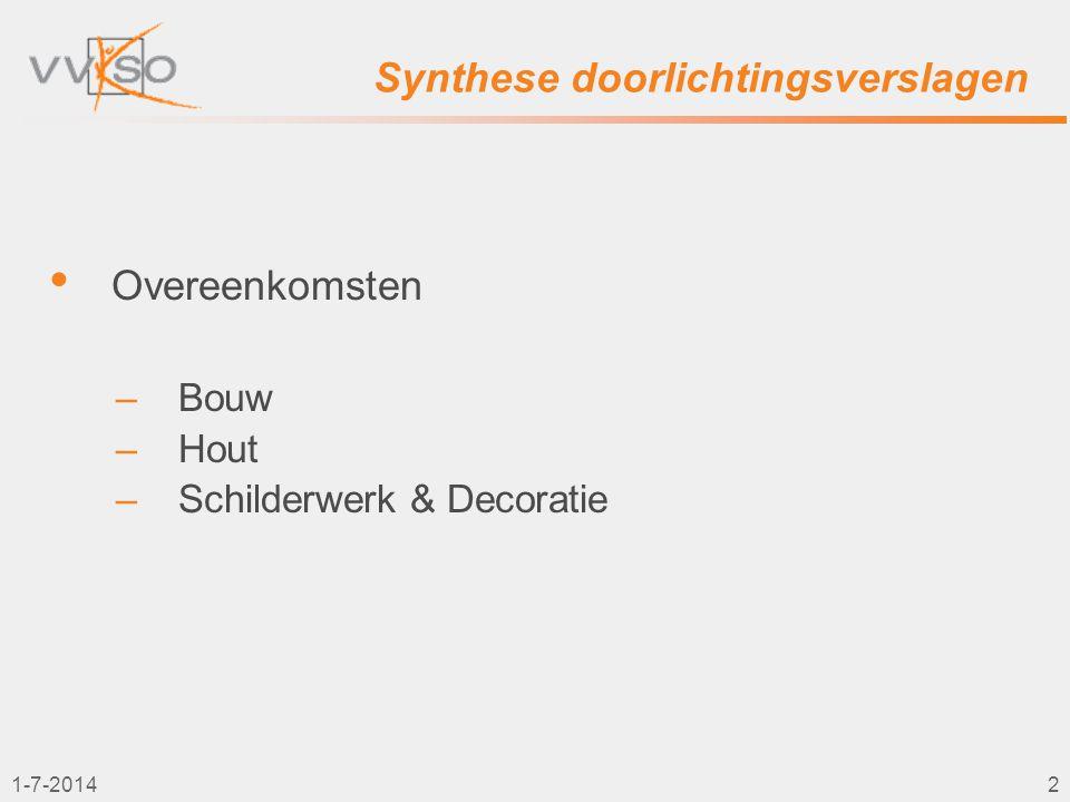 1-7-20143 Synthese doorlichtingsverslagen • LEERPLANDOELSTELLINGEN • PROJECTEN / OEFENINGEN • HEDENDAAGSE TECHNIEKEN • ICT - CNC / CAD-CAM • MINIMALE VEREISTEN • VAKWERKGROEP • NASCHOLINGEN • CURSUSSEN • PREVENTIE • EVALUATIE • STAGE • GIP