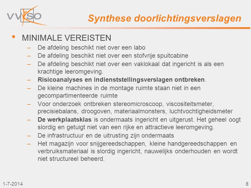 1-7-20149 Synthese doorlichtingsverslagen • VAKWERKGROEP –Slecht functionerende vakgroepwerking –In de vakwerkgroep worden vooral atelierorganisatorische afspraken gemaakt.