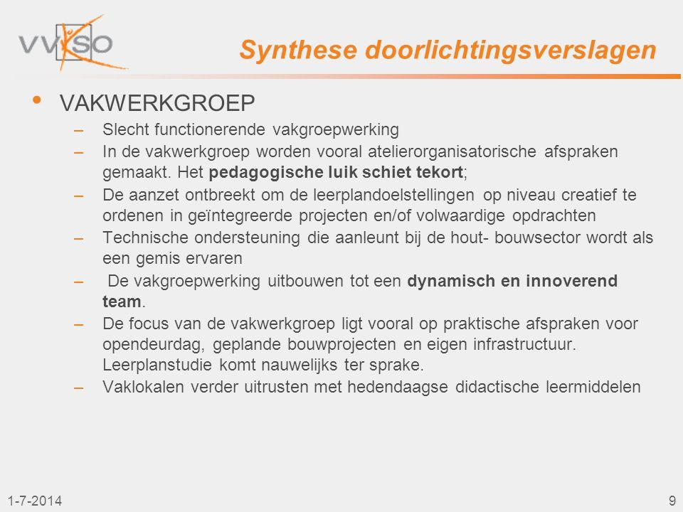 1-7-20149 Synthese doorlichtingsverslagen • VAKWERKGROEP –Slecht functionerende vakgroepwerking –In de vakwerkgroep worden vooral atelierorganisatoris