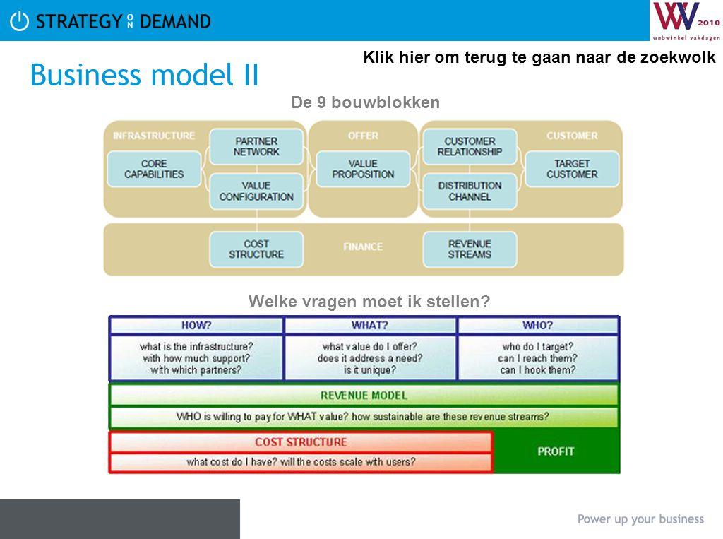 Business model II De 9 bouwblokken Welke vragen moet ik stellen? Klik hier om terug te gaan naar de zoekwolk