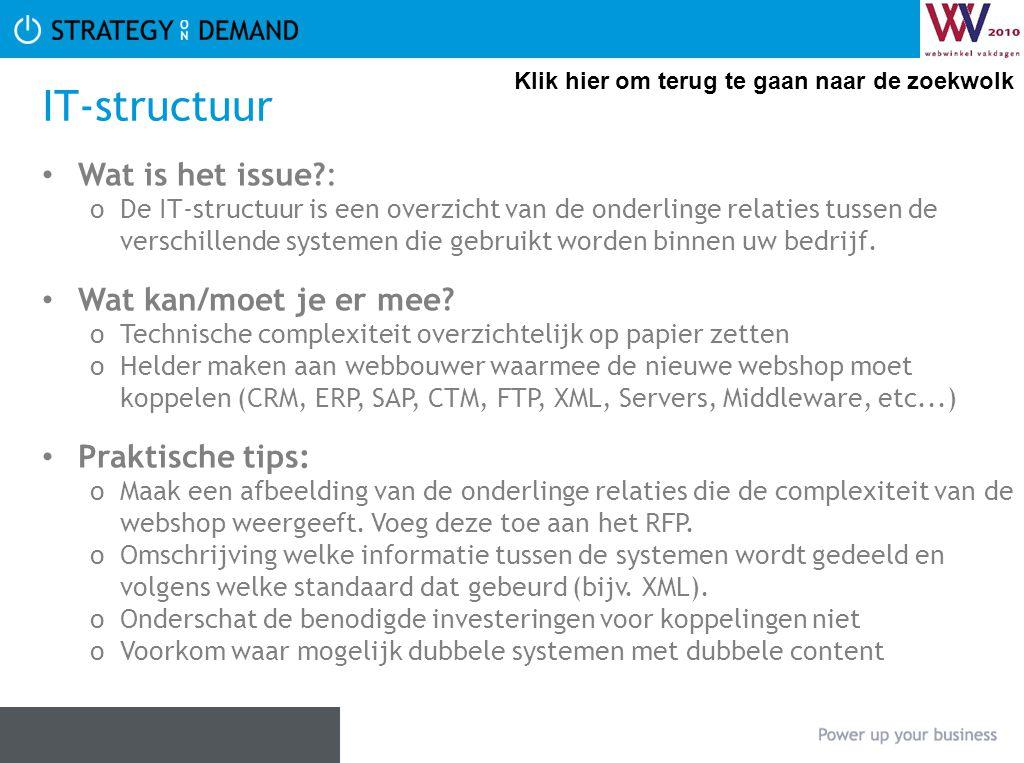 IT-structuur • Wat is het issue?: oDe IT-structuur is een overzicht van de onderlinge relaties tussen de verschillende systemen die gebruikt worden bi