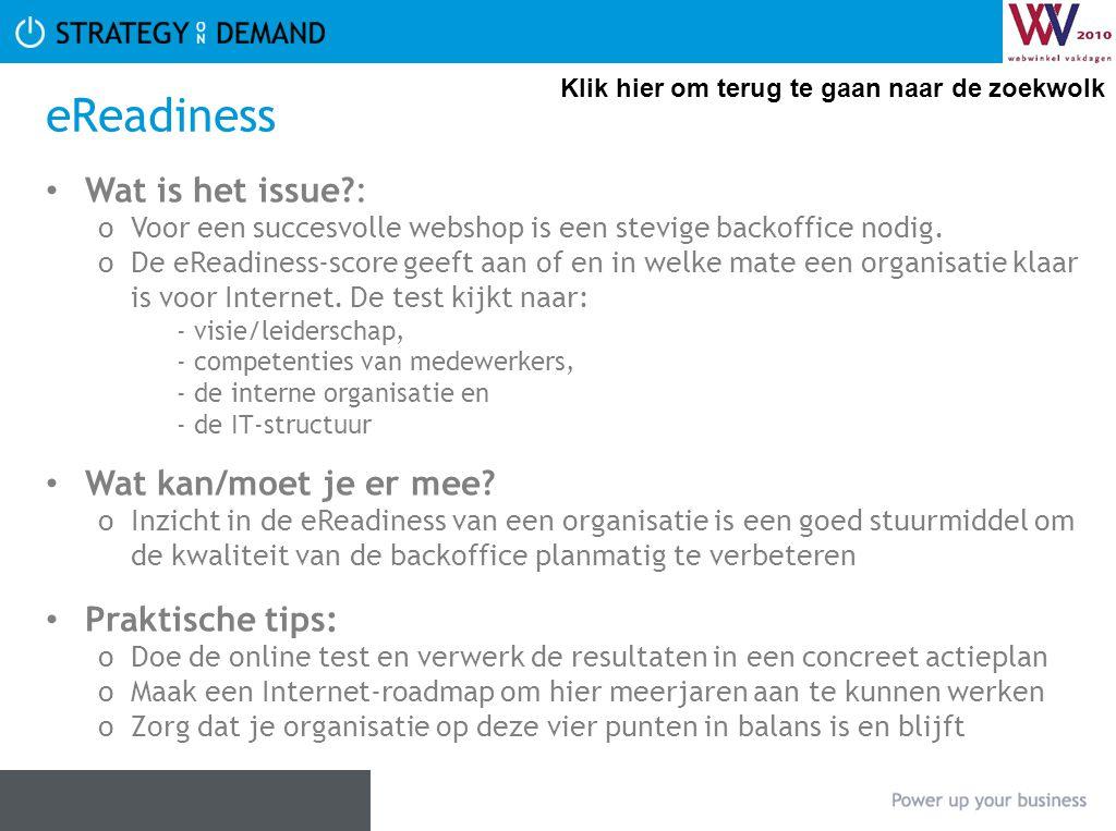 eReadiness • Wat is het issue?: oVoor een succesvolle webshop is een stevige backoffice nodig.