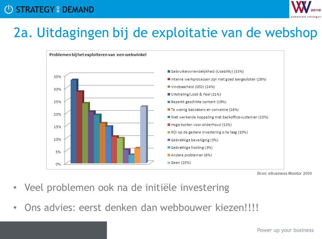 2a. Uitdagingen bij de exploitatie van de webshop • Veel problemen ook na de initiële investering • Ons advies: eerst denken dan webbouwer kiezen!!!!