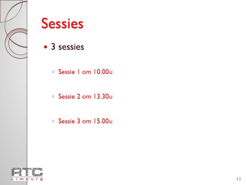 Sessies  3 sessies ◦ Sessie 1 om 10.00u ◦ Sessie 2 om 13.30u ◦ Sessie 3 om 15.00u 11
