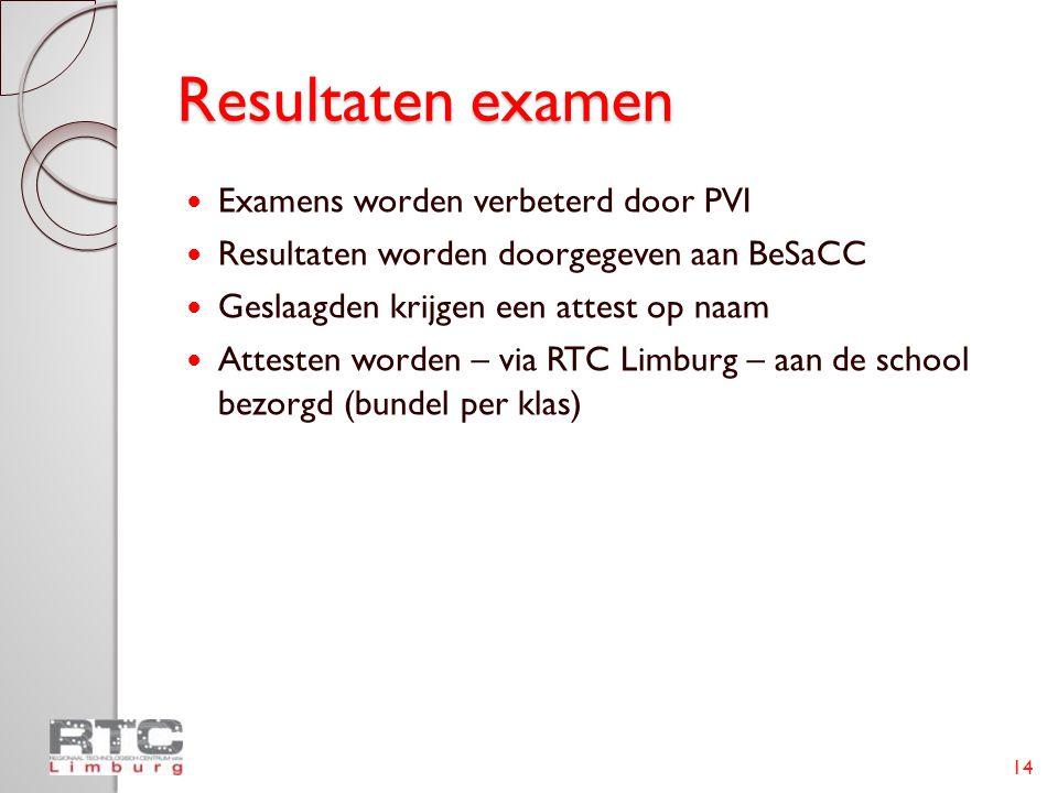 Resultaten examen  Examens worden verbeterd door PVI  Resultaten worden doorgegeven aan BeSaCC  Geslaagden krijgen een attest op naam  Attesten wo