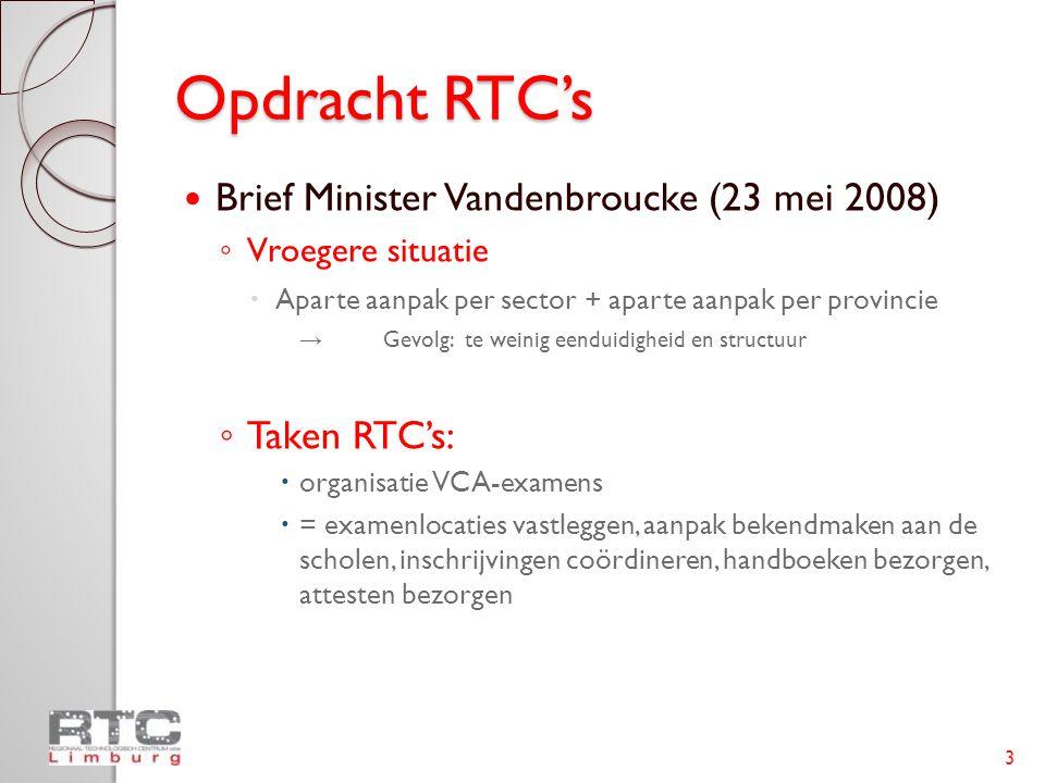 Opdracht RTC's  Brief Minister Vandenbroucke (23 mei 2008) ◦ Vroegere situatie  Aparte aanpak per sector + aparte aanpak per provincie → Gevolg: te