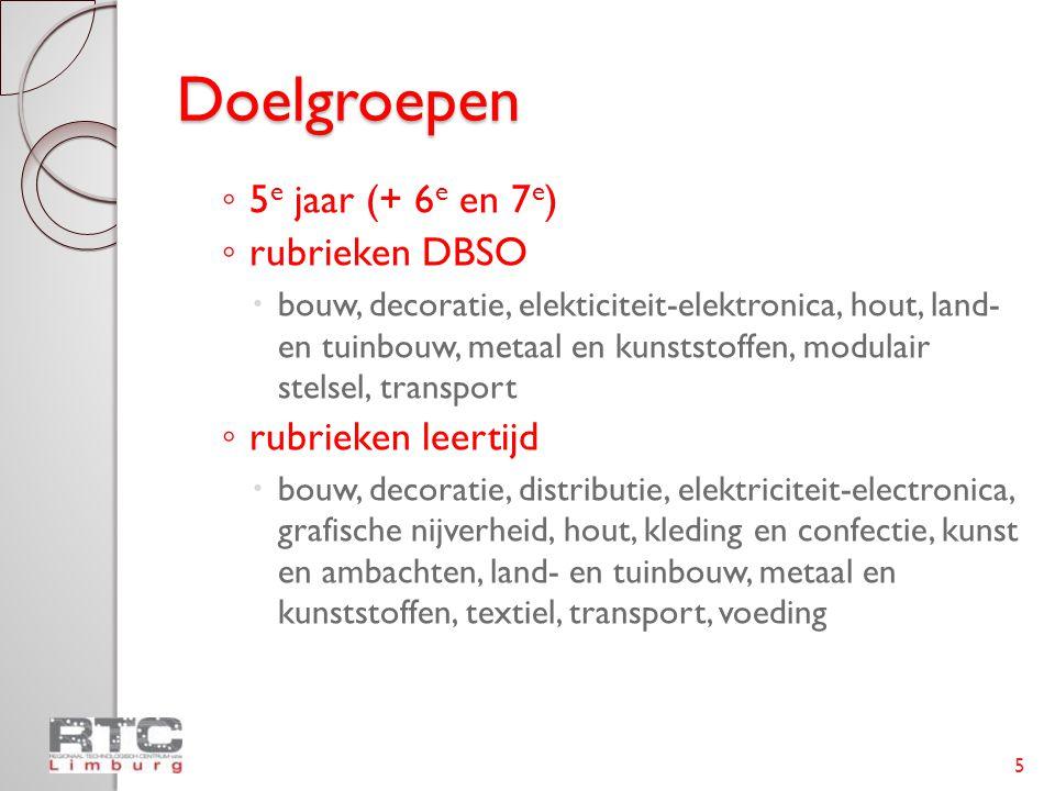 Doelgroepen ◦ 5 e jaar (+ 6 e en 7 e ) ◦ rubrieken DBSO  bouw, decoratie, elekticiteit-elektronica, hout, land- en tuinbouw, metaal en kunststoffen,