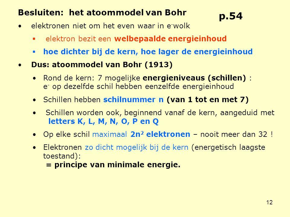 12 Besluiten: het atoommodel van Bohr • elektronen niet om het even waar in e - wolk  elektron bezit een welbepaalde energieinhoud  hoe dichter bij