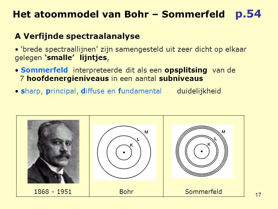 17 1868 - 1951BohrSommerfeld A Verfijnde spectraalanalyse • 'brede spectraallijnen' zijn samengesteld uit zeer dicht op elkaar gelegen 'smalle' lijntjes, • Sommerfeld interpreteerde dit als een opsplitsing van de 7 hoofdenergieniveaus in een aantal subniveaus • sharp, principal, diffuse en fundamental duidelijkheid Het atoommodel van Bohr – Sommerfeld p.54