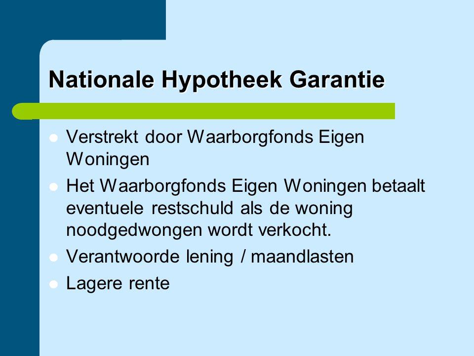 Nationale Hypotheek Garantie  Verstrekt door Waarborgfonds Eigen Woningen  Het Waarborgfonds Eigen Woningen betaalt eventuele restschuld als de woni