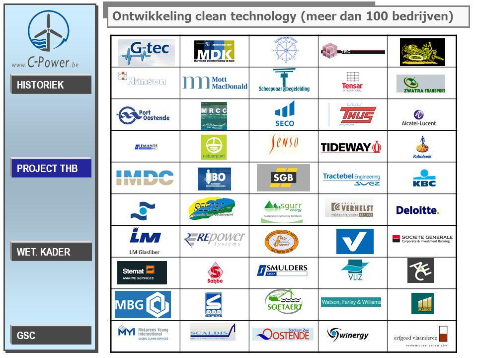 PROJECT THB HISTORIEK WET. KADER GSC Ontwikkeling clean technology (meer dan 100 bedrijven)