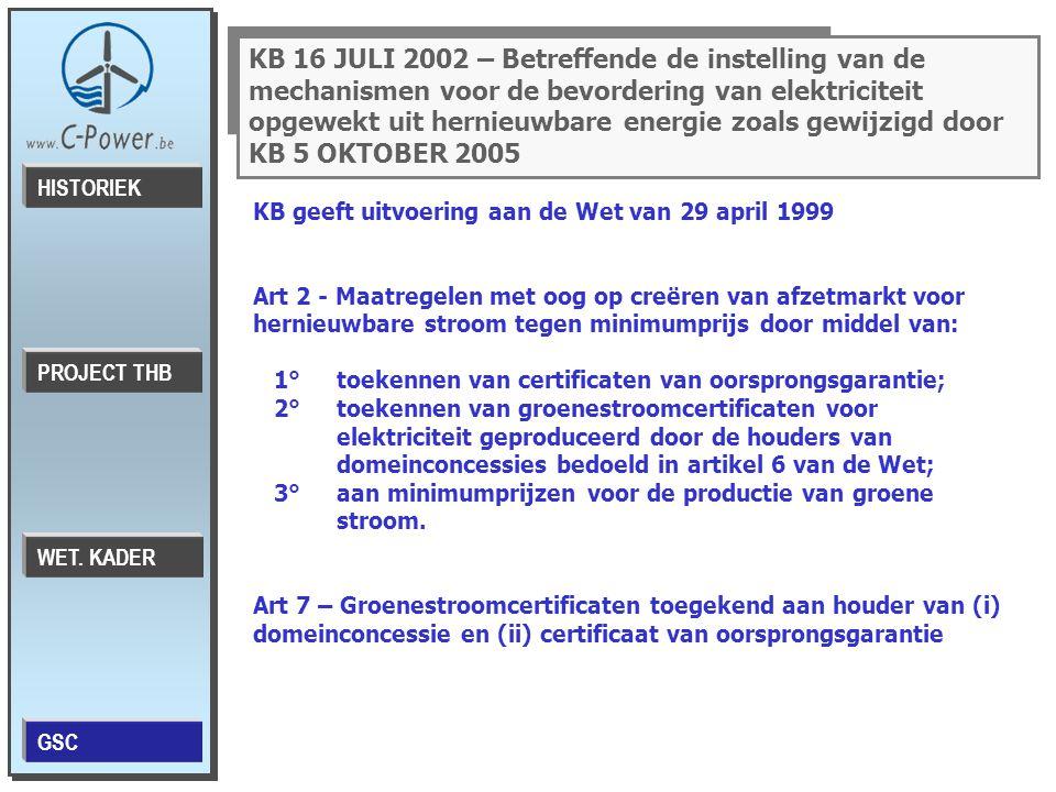 KB 16 JULI 2002 – Betreffende de instelling van de mechanismen voor de bevordering van elektriciteit opgewekt uit hernieuwbare energie zoals gewijzigd door KB 5 OKTOBER 2005 KB geeft uitvoering aan de Wet van 29 april 1999 Art 2 - Maatregelen met oog op creëren van afzetmarkt voor hernieuwbare stroom tegen minimumprijs door middel van: 1° toekennen van certificaten van oorsprongsgarantie; 2° toekennen van groenestroomcertificaten voor elektriciteit geproduceerd door de houders van domeinconcessies bedoeld in artikel 6 van de Wet; 3° aan minimumprijzen voor de productie van groene stroom.