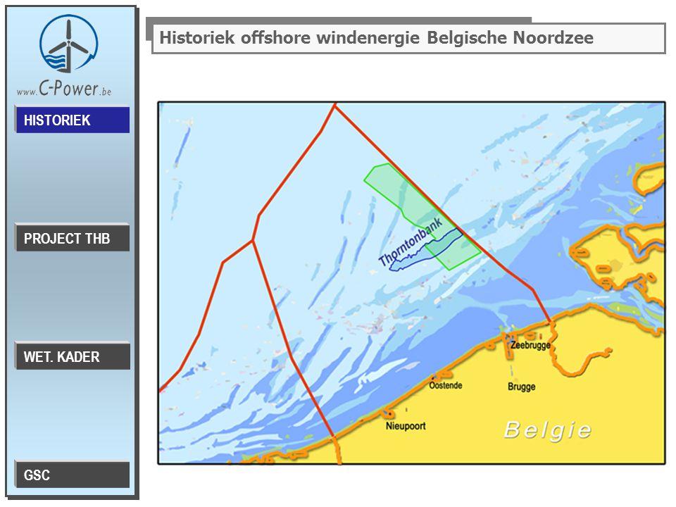 Historiek offshore windenergie Belgische Noordzee PROJECT THB HISTORIEK WET. KADER GSC