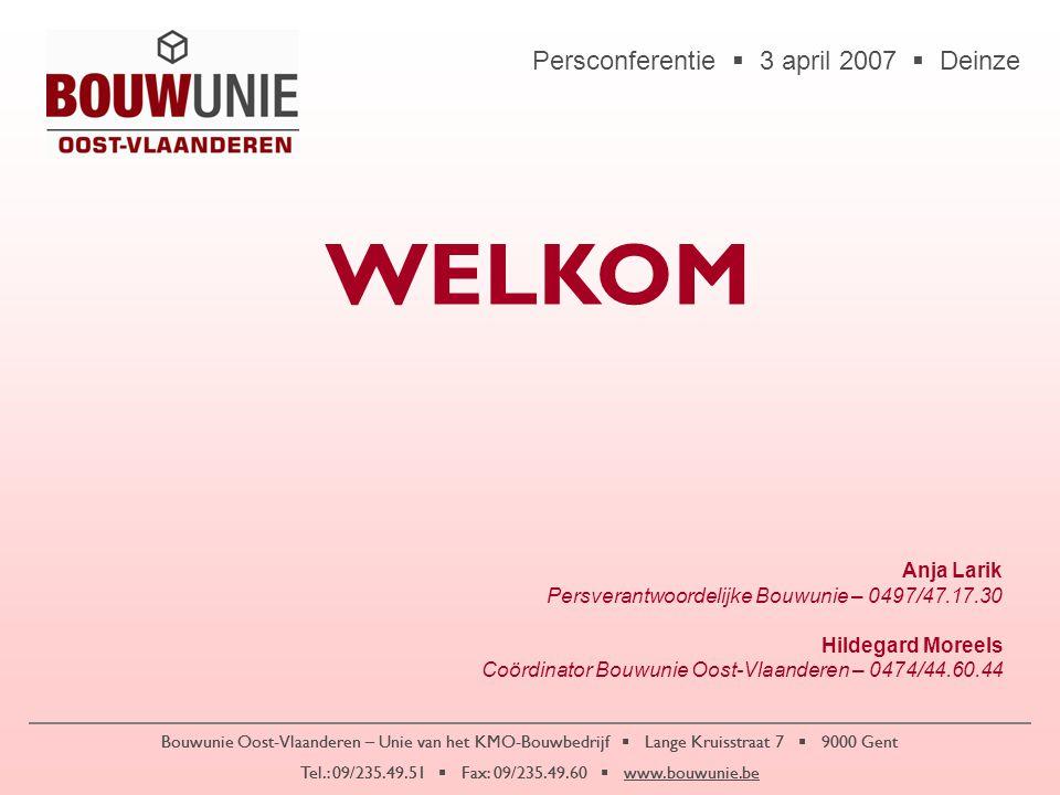Persconferentie  3 april 2007  Deinze Bouwunie Oost-Vlaanderen – Unie van het KMO-Bouwbedrijf  Lange Kruisstraat 7  9000 Gent Tel.: 09/235.49.51  Fax: 09/235.49.60  www.bouwunie.be •11.757 bouwbedrijven in Oost-Vlaanderen –4.427 met personeel (24,2% van Vlaanderen – 2 de plaats) –7.330 zonder personeel (26,9% van Vlaanderen – 1 ste plaats) •25.619 arbeiders in Oost-Vlaamse bouw (25,8% van Vlaanderen – 2 de plaats)