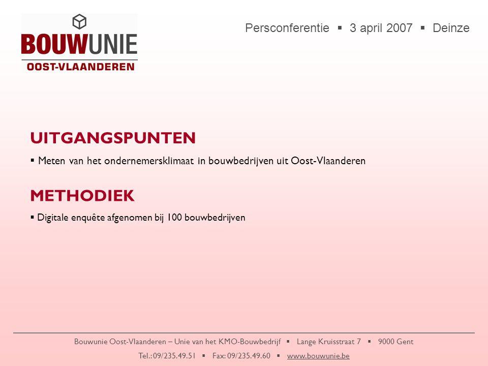 Persconferentie  3 april 2007  Deinze Bouwunie Oost-Vlaanderen – Unie van het KMO-Bouwbedrijf  Lange Kruisstraat 7  9000 Gent Tel.: 09/235.49.51 
