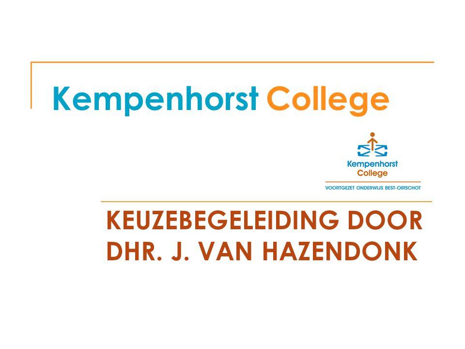 Kempenhorst College KEUZEBEGELEIDING DOOR DHR. J. VAN HAZENDONK