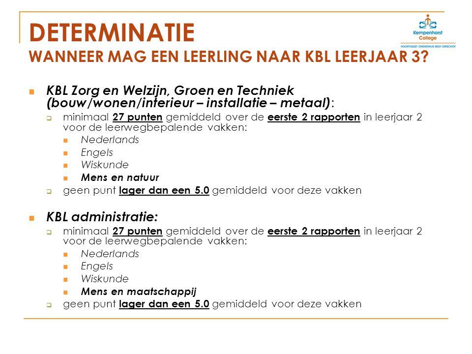 DETERMINATIE WANNEER MAG EEN LEERLING NAAR KBL LEERJAAR 3.