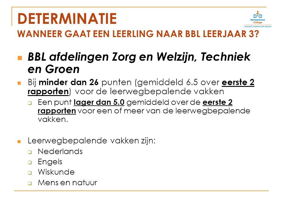 DETERMINATIE WANNEER GAAT EEN LEERLING NAAR BBL LEERJAAR 3.