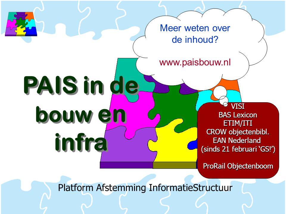 Platform Afstemming InformatieStructuur PAIS in de bouw en infra VISI BAS Lexicon ETIM/ITI CROW objectenbibl. EAN Nederland (sinds 21 februari 'GS!')