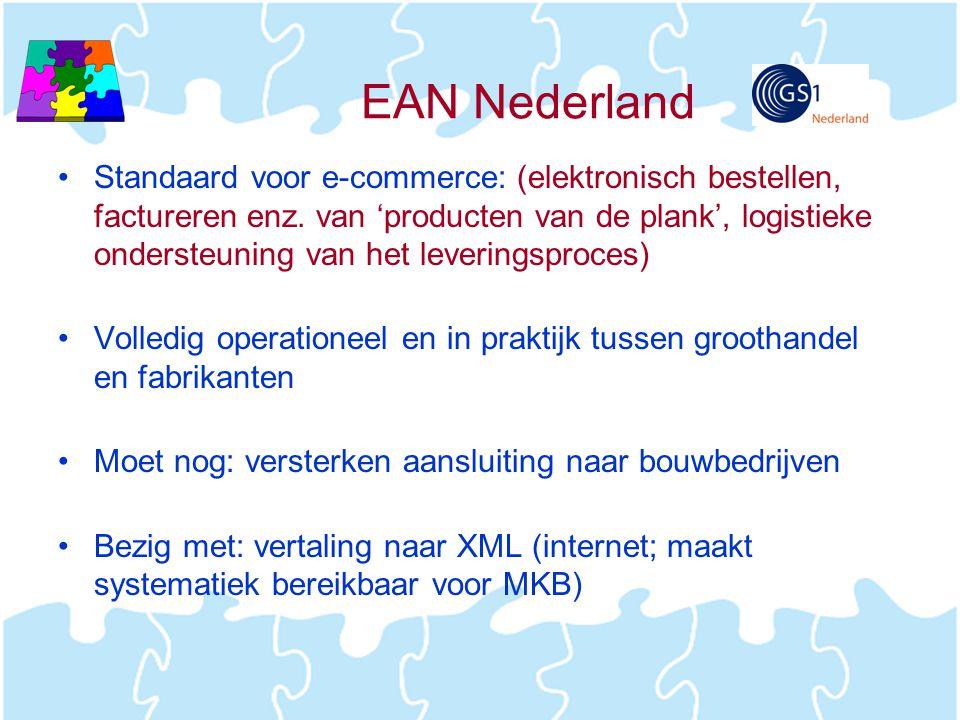 EAN Nederland •Standaard voor e-commerce: (elektronisch bestellen, factureren enz. van 'producten van de plank', logistieke ondersteuning van het leve