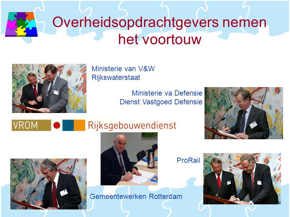Overheidsopdrachtgevers nemen het voortouw Ministerie van V&W Rijkswaterstaat Ministerie va Defensie Dienst Vastgoed Defensie Gemeentewerken Rotterdam