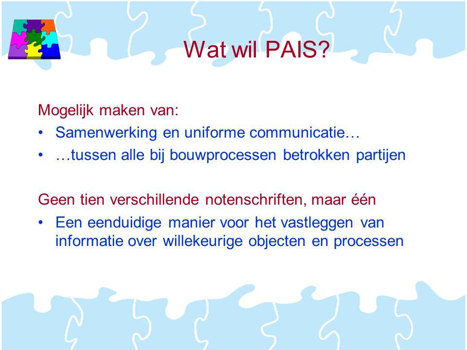 Wat wil PAIS? Mogelijk maken van: •Samenwerking en uniforme communicatie… •…tussen alle bij bouwprocessen betrokken partijen Geen tien verschillende n