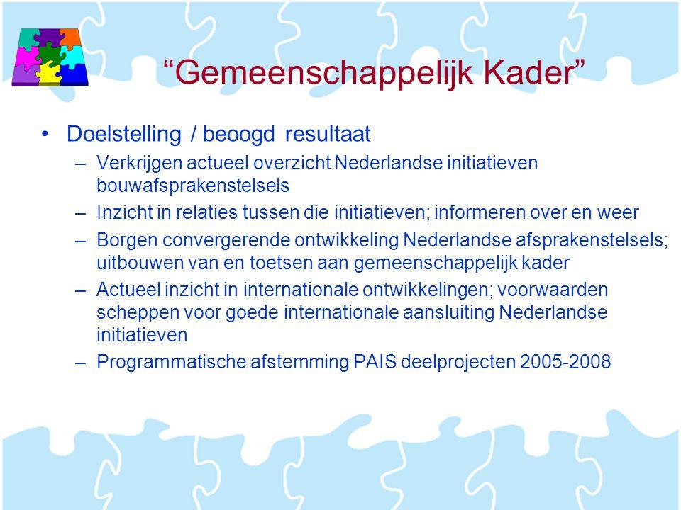 """""""Gemeenschappelijk Kader"""" •Doelstelling / beoogd resultaat –Verkrijgen actueel overzicht Nederlandse initiatieven bouwafsprakenstelsels –Inzicht in re"""