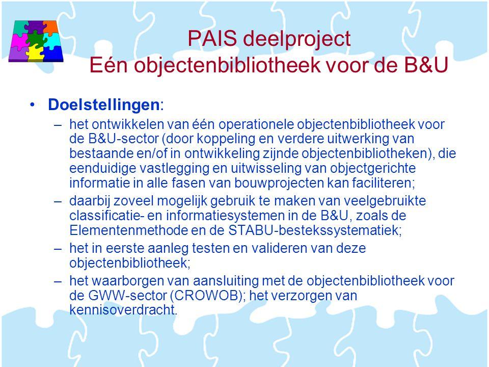 PAIS deelproject Eén objectenbibliotheek voor de B&U •Doelstellingen: –het ontwikkelen van één operationele objectenbibliotheek voor de B&U-sector (do