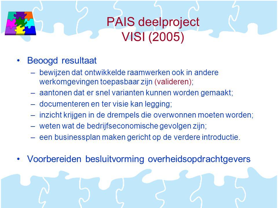 PAIS deelproject VISI (2005) •Beoogd resultaat –bewijzen dat ontwikkelde raamwerken ook in andere werkomgevingen toepasbaar zijn (valideren); –aantone