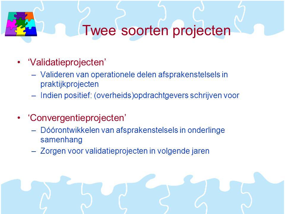Twee soorten projecten •'Validatieprojecten' –Valideren van operationele delen afsprakenstelsels in praktijkprojecten –Indien positief: (overheids)opd