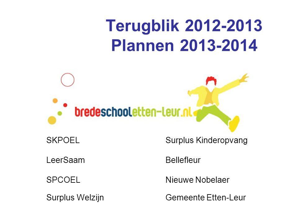 Terugblik 2012-2013 Plannen 2013-2014 SKPOELSurplus Kinderopvang LeerSaamBellefleur SPCOELNieuwe Nobelaer Surplus WelzijnGemeente Etten-Leur