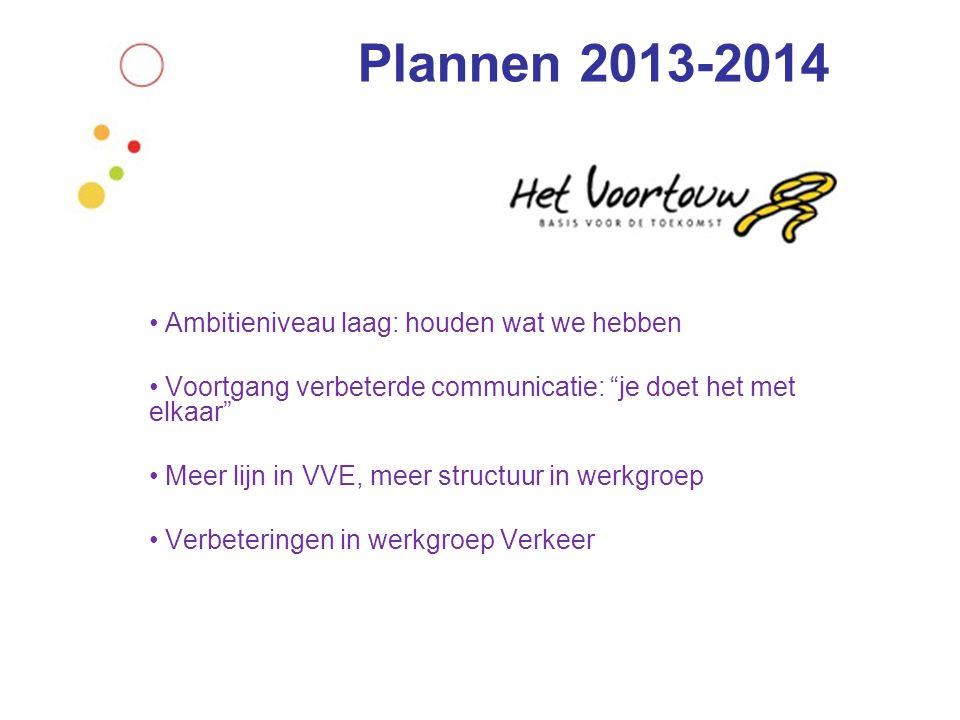 Plannen 2013-2014 • Ambitieniveau laag: houden wat we hebben • Voortgang verbeterde communicatie: je doet het met elkaar • Meer lijn in VVE, meer structuur in werkgroep • Verbeteringen in werkgroep Verkeer