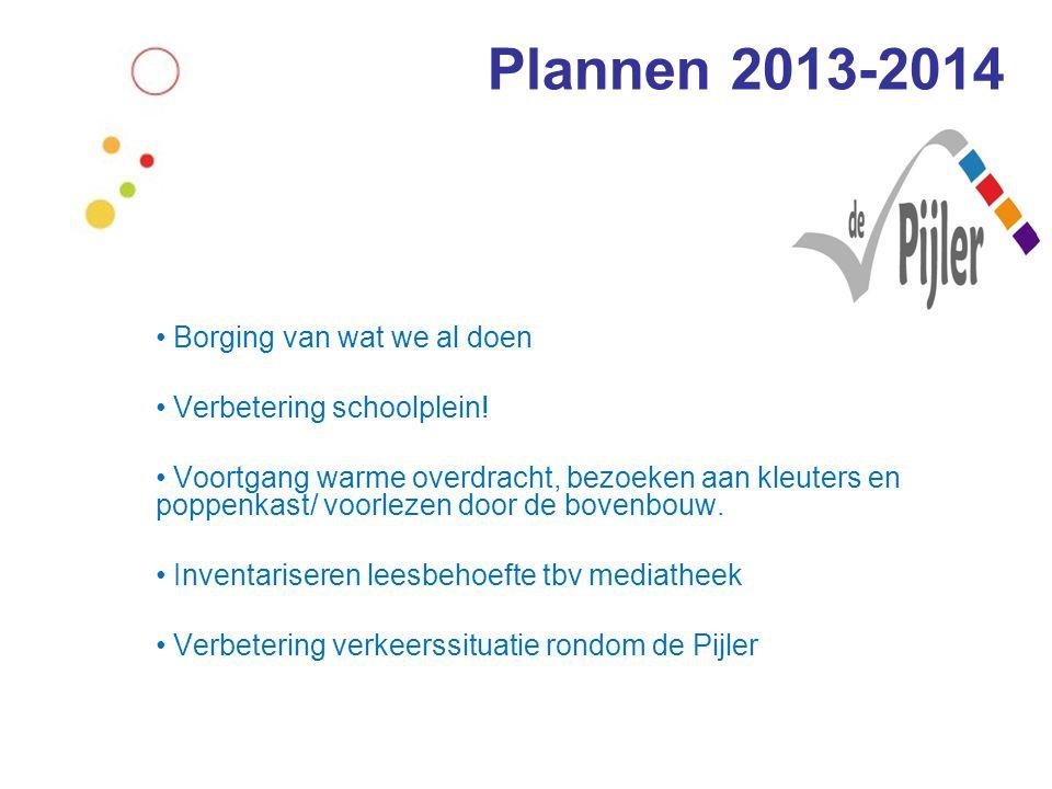 Plannen 2013-2014 • Borging van wat we al doen • Verbetering schoolplein! • Voortgang warme overdracht, bezoeken aan kleuters en poppenkast/ voorlezen