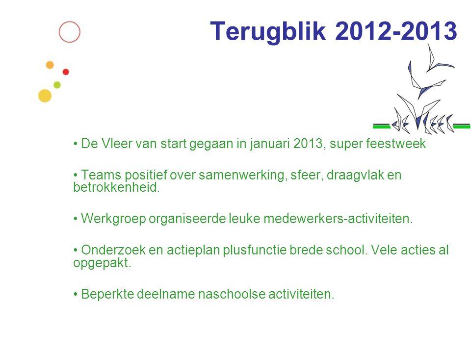 • De Vleer van start gegaan in januari 2013, super feestweek • Teams positief over samenwerking, sfeer, draagvlak en betrokkenheid. • Werkgroep organi