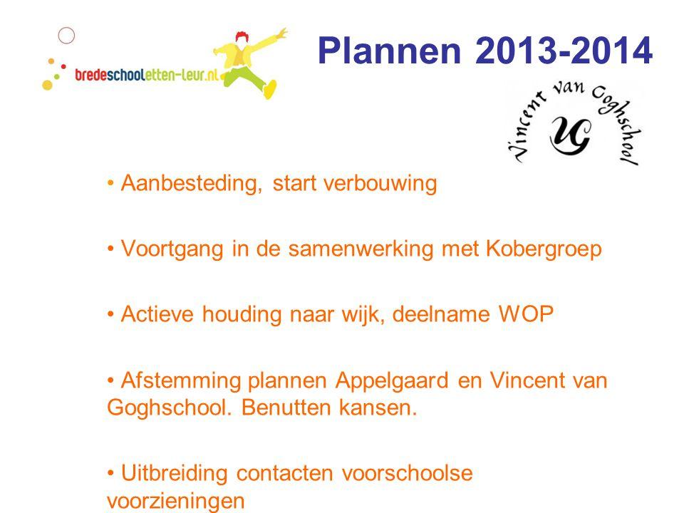 Plannen 2013-2014 • Aanbesteding, start verbouwing • Voortgang in de samenwerking met Kobergroep • Actieve houding naar wijk, deelname WOP • Afstemming plannen Appelgaard en Vincent van Goghschool.