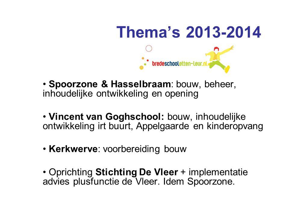 Thema's 2013-2014 • Spoorzone & Hasselbraam: bouw, beheer, inhoudelijke ontwikkeling en opening • Vincent van Goghschool: bouw, inhoudelijke ontwikkel