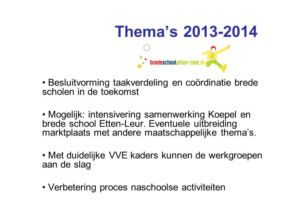Thema's 2013-2014 • Besluitvorming taakverdeling en coördinatie brede scholen in de toekomst • Mogelijk: intensivering samenwerking Koepel en brede school Etten-Leur.