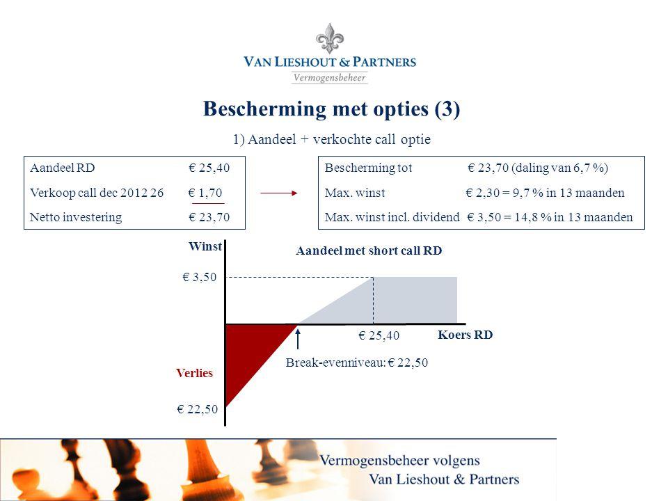 18 Bescherming met opties (3) 1) Aandeel + verkochte call optie Bescherming tot € 23,70 (daling van 6,7 %) Max. winst € 2,30 = 9,7 % in 13 maanden Max