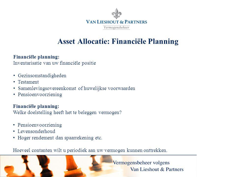 4 Asset Allocatie: Financiële Planning Financiële planning: Inventarisatie van uw financiële positie • Gezinsomstandigheden • Testament • Samenlevingsovereenkomst of huwelijkse voorwaarden • Pensioenvoorziening Financiële planning: Welke doelstelling heeft het te beleggen vermogen.