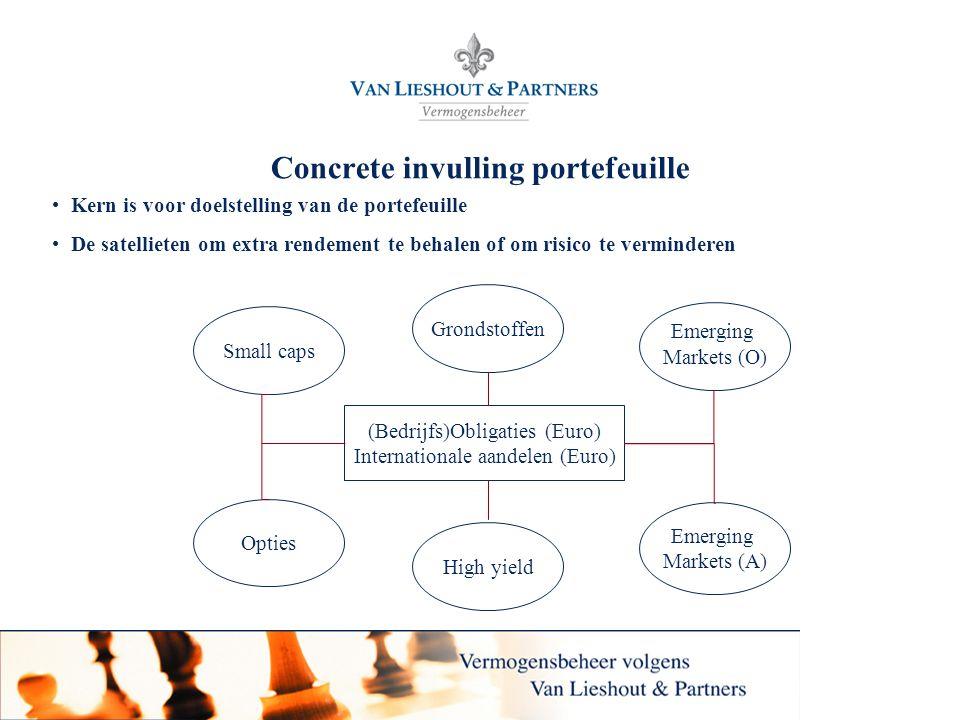 7 Concrete invulling portefeuille • Kern is voor doelstelling van de portefeuille • De satellieten om extra rendement te behalen of om risico te vermi