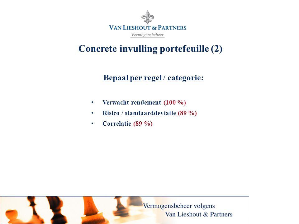 8 Concrete invulling portefeuille (2) Bepaal per regel / categorie: •Verwacht rendement (100 %) •Risico / standaarddeviatie (89 %) •Correlatie (89 %)