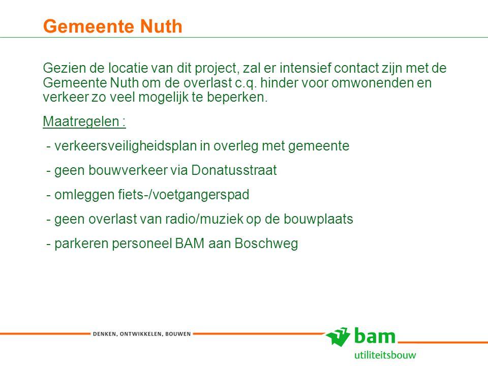 27-01-2011 Koninklijke BAM Groep nv - - 16 Gemeente Nuth Gezien de locatie van dit project, zal er intensief contact zijn met de Gemeente Nuth om de o